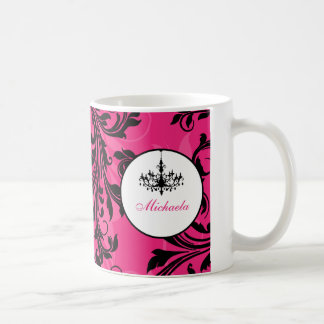 Pink Black White Chandelier Scroll Mug with Name