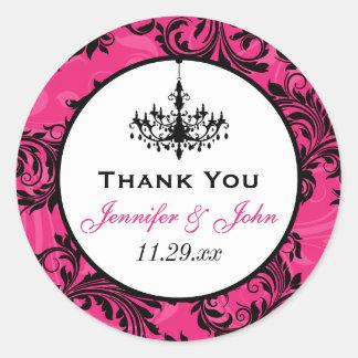 Pink Black White Chandelier Scroll Wedding Sticker