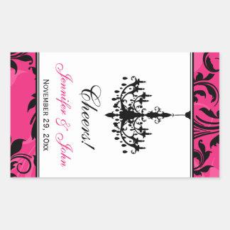 Pink Black White Chandelier Wine Bottle Sticker