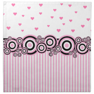 Pink Black White Circles Stripes Hearts Napkin