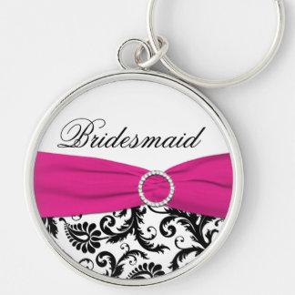 Pink, Black, White Damask Bridesmaid Keychain
