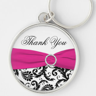 Pink, Black, White Damask Thank You Keychain
