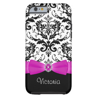 Pink Black White Damask Tough iPhone 6 Case