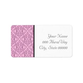Pink Black White Damask Wedding Address Lables Label
