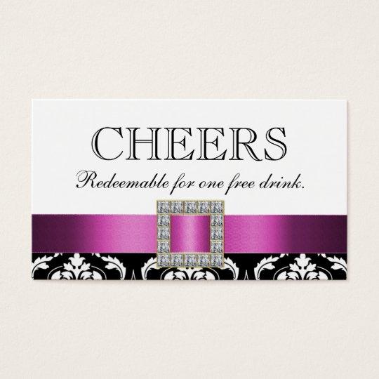 Pink Black White Damask Wedding Bar Drink Voucher