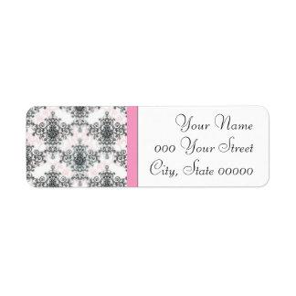 Pink Black White Damask Wedding Return Address Label