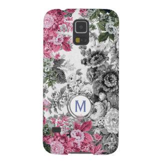 Pink Black & White Floral Garden Monogram Galaxy S5 Cases