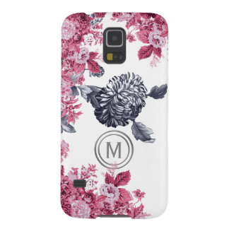 Pink Black & White Floral Garden Monogram Galaxy S5 Covers