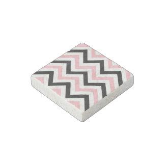 Pink, Black, White Large Chevron ZigZag Pattern Stone Magnet
