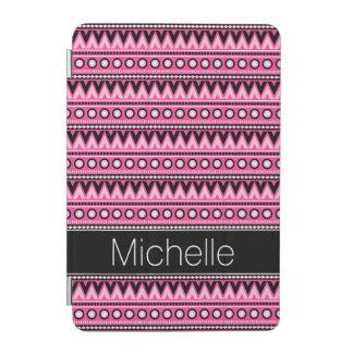 Pink Black White Modern Aztec Tribal Pattern iPad Mini Cover
