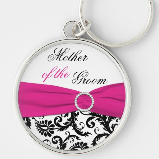 Pink, Black, White Mother of the Groom Keychain