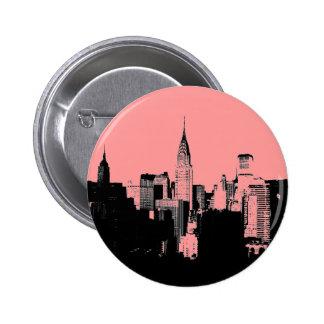 Pink, Black & White New York City Pinback Button