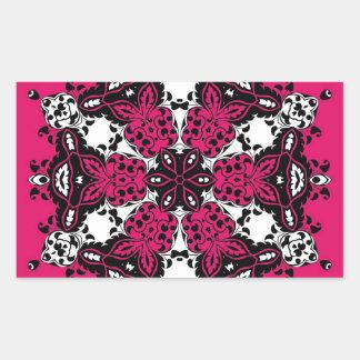 Pink Black & White Ornate Design Rectangular Sticker