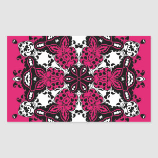 Pink Black White Ornate Design Rectangle Stickers