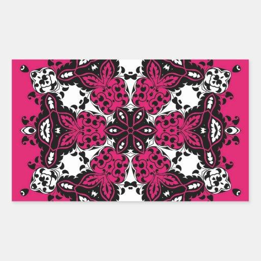 Pink Black & White Ornate Design Rectangle Stickers