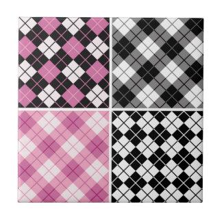 pink black white plaid girly cute pattern trendy ceramic tiles
