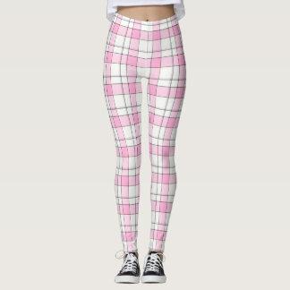 Pink,Black,White Plaid Leggings