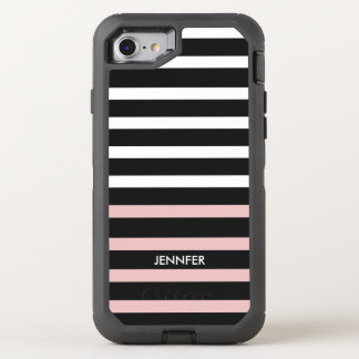 Pink Black White Stripes Pattern OtterBox Defender iPhone 7 Case