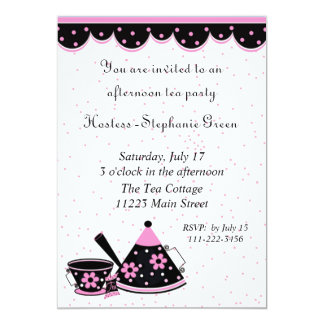 Pink, Black, & White Tea Party Invitation
