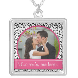 Pink, Black, White Wedding Photo Template Necklace