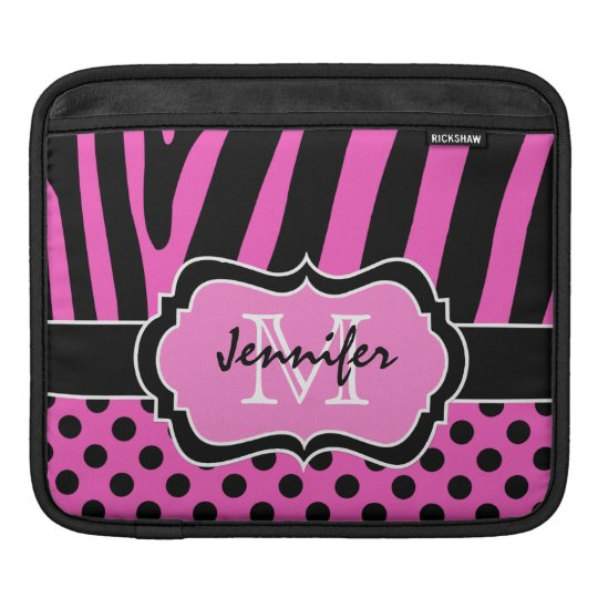 Pink, Black, White Zebra Stripes Polka Dots iPad Sleeve