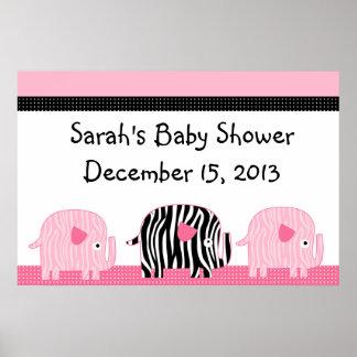 Pink & Black Zebra Print Elephants Poster/Banner