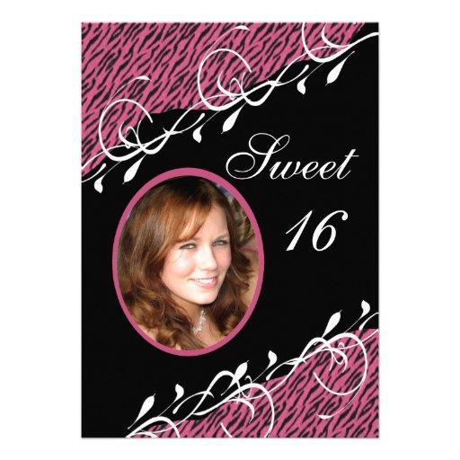 Pink & Black Zebra Print Sweet 16 Invitation