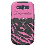 Pink & Black Zebra Printed Glitter & Bow