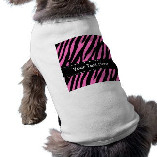 Pink & Black Zebra Stripes; Animal Print Sleeveless Dog Shirt