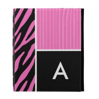 Pink & Black Zebra Stripes iPad Folio Cases