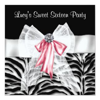 Pink Black Zebra Sweet 16 Birthday Party 13 Cm X 13 Cm Square Invitation Card