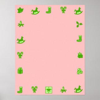 Pink Blank Christmas Poster Green Decorativ Border