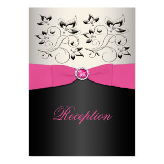 Pink, Blck, and Silver Reception Enclosure Card Pack Of Chubby Business Cards