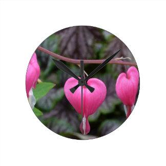 Pink Bleeding Hearts Wall Clock