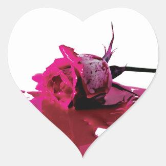 Pink Bleeding Rose Heart Sticker