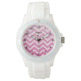 Pink Blend Chevron Pattern Wristwatch