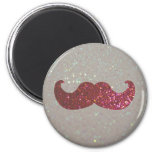 Pink Bling Moustache (Faux Glitter Graphic) 6 Cm Round Magnet