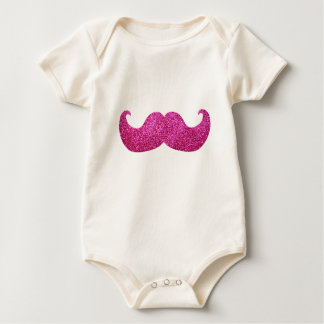 Pink Bling Mustache (Faux Glitter Graphic) Baby Bodysuit