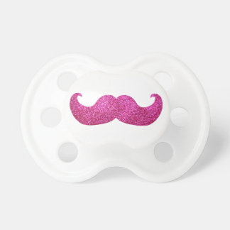 Pink Bling Mustache (Faux Glitter Graphic) Baby Pacifiers