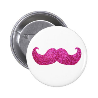 Pink Bling Mustache (Faux Glitter Graphic) 6 Cm Round Badge