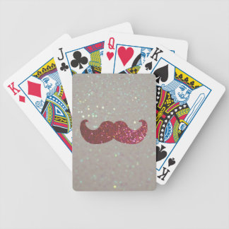Pink Bling Mustache (Faux Glitter Graphic) Bicycle Playing Cards