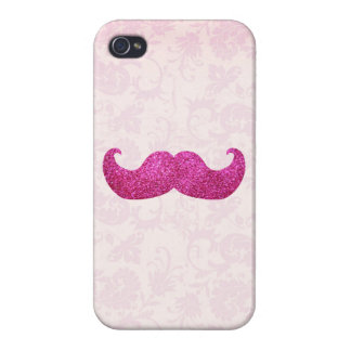 Pink Bling Mustache (Faux Glitter Graphic) Covers For iPhone 4