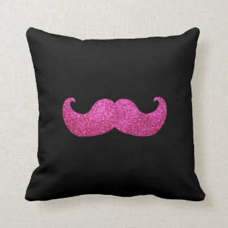 Pink Bling Mustache (Faux Glitter Graphic) Cushion