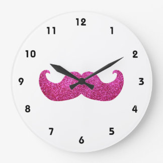 Pink Bling Mustache (Faux Glitter Graphic) Large Clock