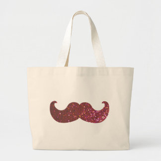 Pink Bling Mustache (Faux Glitter Graphic) Large Tote Bag