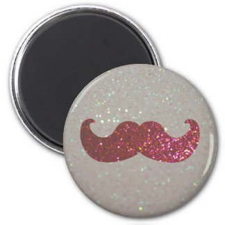 Pink Bling Mustache (Faux Glitter Graphic) Magnet