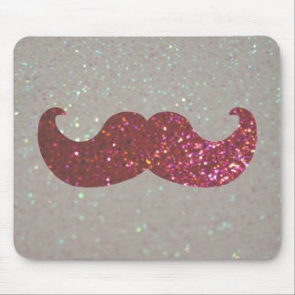 Pink Bling Mustache Faux Glitter Graphic Mousepad