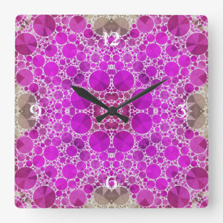 Pink Bling Pattern Square Wall Clock
