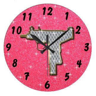 Pink Bling Uzi Gun Round Wallclocks