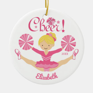 Pink Blonde Cheerleader Personalized Ornament